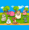 happy farm animals cartoon characters group vector image vector image