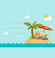 Happy summer holidays text on paradise sand island