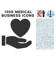 heart care hand icon with 1300 medical business vector image vector image