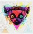 hipster animal lemur on artistic polygon vector image vector image
