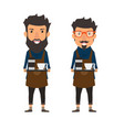 hipster style barista holding a coffee on a tray vector image vector image