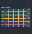 horizontal 2019 calendar designsunday weekend vector image vector image