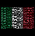 italian flag collage of italy text items vector image vector image