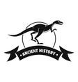 jurassic raptor logo simple black style vector image vector image