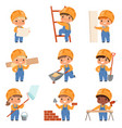 little builders childrens with construction tools vector image vector image
