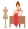 manufacturing clothes designer and sewing vector image