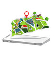 map with cellphone gps application symbol flat vector image vector image