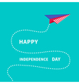 Paper plane with dash line Happy independence day vector image vector image