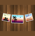 photo frames fixed on the rope with clothespins vector image vector image