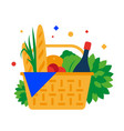 picnic basket with baguette fruit and drinks vector image