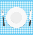 plate knife and fork on tablecloth vector image vector image