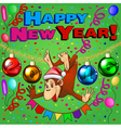 postcard of a monkey hanging on the tinsel with Ch vector image vector image