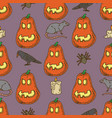 seamless pattern pumpkins for halloween vector image