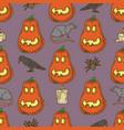 seamless pattern pumpkins for halloween vector image