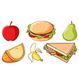 set fast food and healthy fruits on white vector image