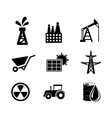 Set of black and white industrial icons vector image