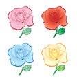 Set of color hand drawing roses for print design vector image