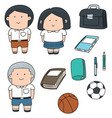 set of student and stationary vector image vector image