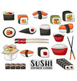 sushi and rolls set japanese cuisine concept vector image