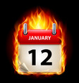 twelfth january in calendar burning icon on black vector image vector image