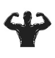 vintage bodybuilder black silhouette template vector image vector image