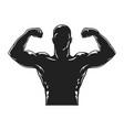 vintage bodybuilder black silhouette template vector image