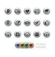 web and mobile icons 8 - metal round series vector image vector image