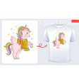 winter unicorn t-shirt print design cute cartoon vector image