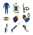 Diving equipment icons in flat style vector image