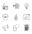 advertising icons set outline style