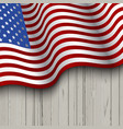 american flag on a wooden background vector image vector image
