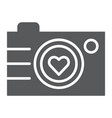 camera glyph icon photography and love love vector image vector image