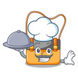 chef with food menesseger bag color on a cartoon vector image vector image
