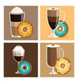 coffee and donuts set icons vector image