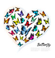 colorful butterflies in a heart shape pattern vector image vector image