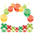 colorful festive balloons and gift boxes vector image