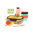 colorful zero waste lunch flat vector image vector image