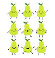 cute pear characters set with different emition vector image