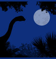 dinosaur silhouette on beautiful forest vector image vector image