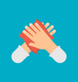 disinfection concept hands and wet wipe vector image vector image