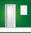 door and photo frame on wall vector image vector image