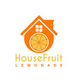 fruit house logo template design lemonade house vector image