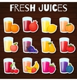 Fruits juices icons set