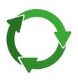 green circular recycling symbol shape with arrows vector image vector image