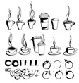 Grungy hand drawn ink coffee to go cups and mugs vector image vector image