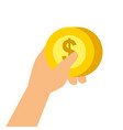 hand holding money coin dollar payment concept vector image vector image