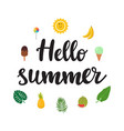 hello summer beautiful poster with ice-cream vector image