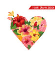 love romantic floral heart design hibiscus flowers vector image