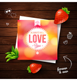 Love You card Romantic design on wooden background vector image vector image