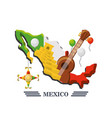 mexico map with mexican elements vector image